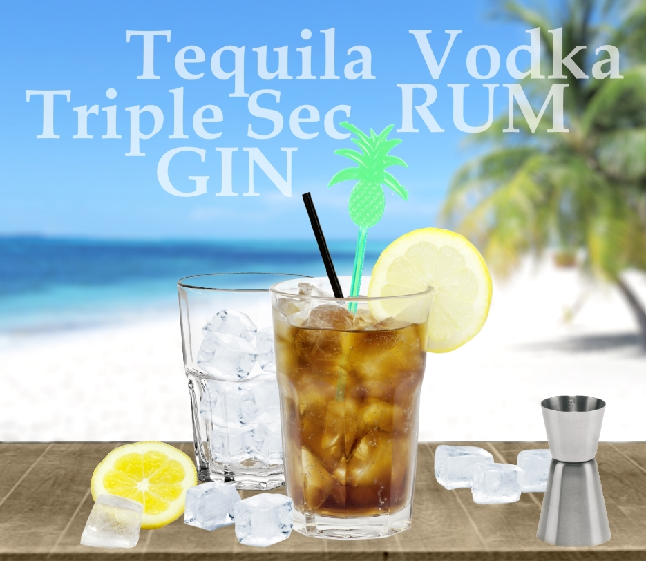 Long Island Iced Tea Rezept - Zutaten: Tequila, Gin, Rum, Triple Sec, Vodka, Zitrone, Cola