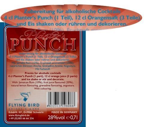 Rücketikett mit Planters Punch Zutaten, Mixrezept und Herstellerangaben
