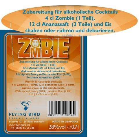 Rücketikett Zombie mit Cocktail Zutaten, Mixrezept und Herstellerangaben