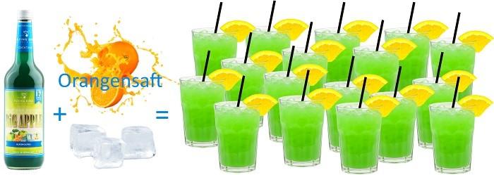 Cocktail Big Apple alkoholfrei Premix einfache Zubereitung nur Orangensaft und Eis kommen hinzu