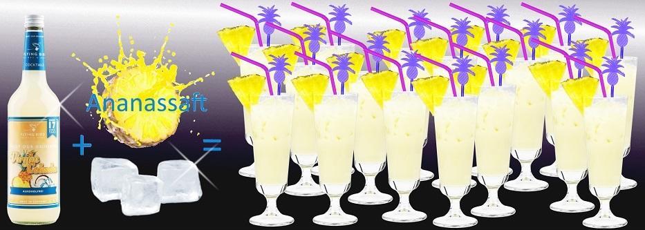 Flasche Virgin Colada alkoholfrei plus Ananassaft und Eis ergibt 17 alkoholfreie Cocktails