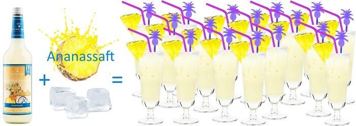 einfache Zubereitung Virgin Colada alkoholfrei - nur Ananassaft und Eis kommen hinzu